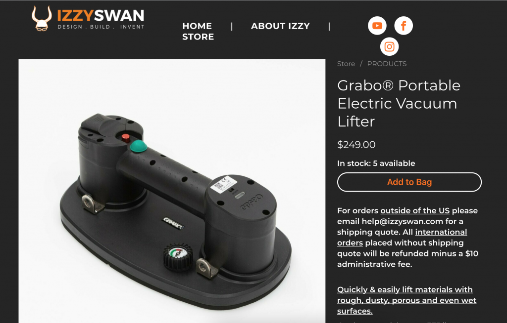 grabo portable electric vacuum lifter